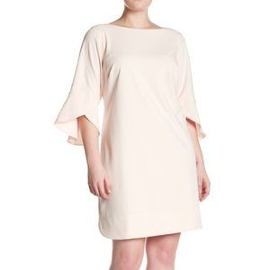 Vince Camuto Boatneck Tulip Sleeve Crepe Dress 18W